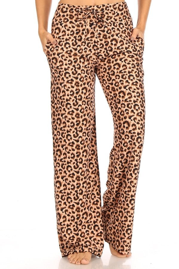 Wide Leg Pajama Bottoms, Leopard
