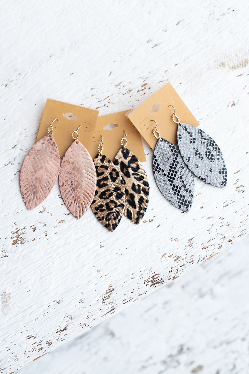 Faux Leather Drop Earrings