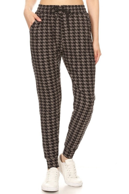 Grey Houndstooth Joggers