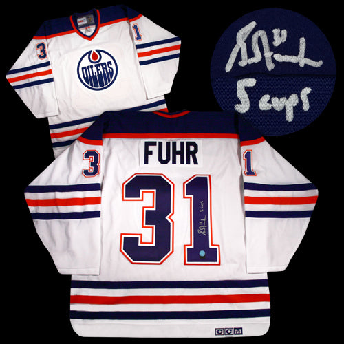 super popular e78bb d2002 Grant Fuhr Edmonton Oilers Autographed White CCM Replica Jersey w/ 5 Cups  Inscription