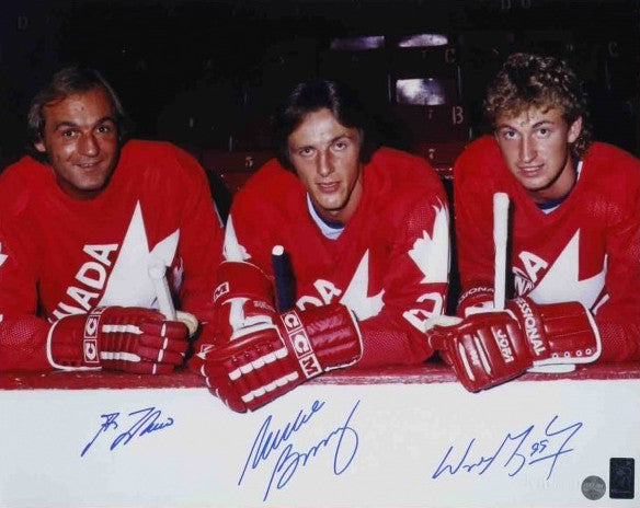 super popular fa710 68af4 Wayne Gretzky, Guy Lafleur & Mike Bossy Team Canada Triple Autographed 81  Canada Cup Super Line 16x20 Photo