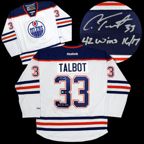 best sneakers 06a3e be33e Cam Talbot Edmonton Oilers Autographed Limited White Reebok Premier Jersey  With 42 Wins Inscription