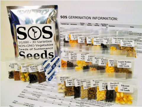 10,000 Natural Vegetable Seed 30 Variety Garden Pack Emergency Survival Kit Food