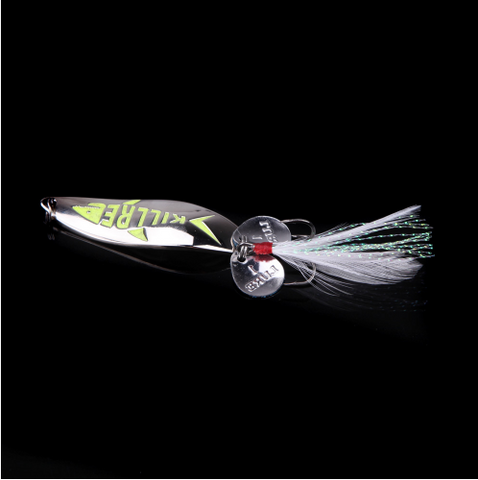 5.5cm/10g Metal Hard Fishing Bait Sequin Spoon Noise Paillette Fishing Lure with Feather/Treble Hook