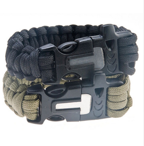 4 in 1 Flint Fire Starter Whistle Paracord Rescue Rope Escape Bracelet
