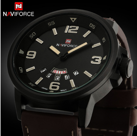 NAVIFORCE Men Sports Watches  Leather Strap Military Army Waterproof Wrist Watch