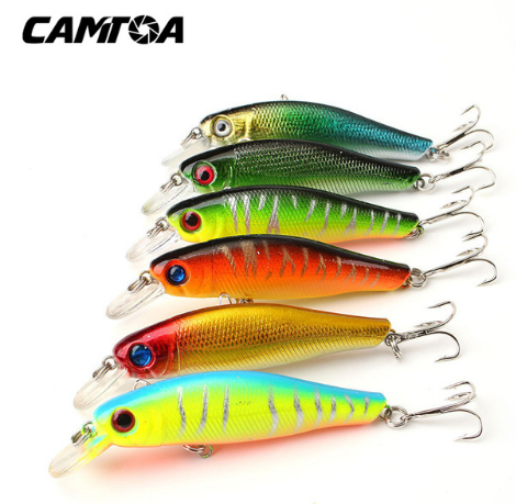 Pack of 6 Colorful Fishing Lures 8.5CM/8.5G Artificial 3D Fish Eyes Tackle Baits with Hooks