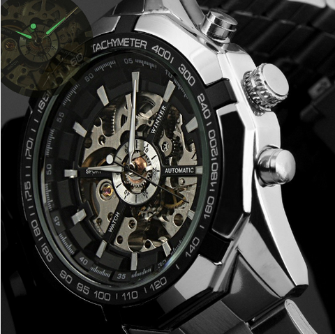 T-WINNER Mens Automatic Skeleton  Casual Stainless Steel Mechanical  Luxury Sport Watch