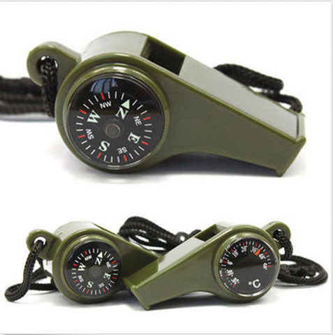 3 in 1 Camping Hiking Emergency Compass and Thermometer Whistle