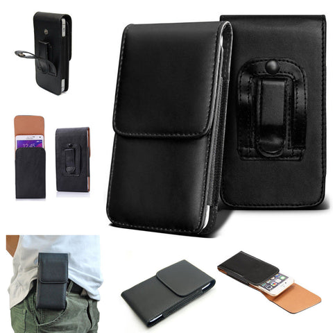 Universal Leather Top Belt Clip Wallet Book Case Cover For iPhone Samsung