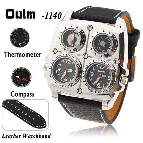 Oulm Men's Survival Watch with Compass and Thermometer Analog Leather Band