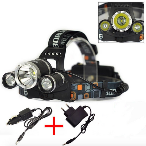 5000 Lumen Bright 3 CREE XML T6 LED Headlamp Waterproof Flashlight Torch 4 Modes w/ Car Charger