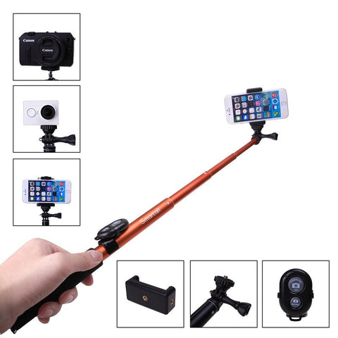 "Extendable Waterproof Gopro Wireless Bluetooth Remote 39"" Selfie Stick"