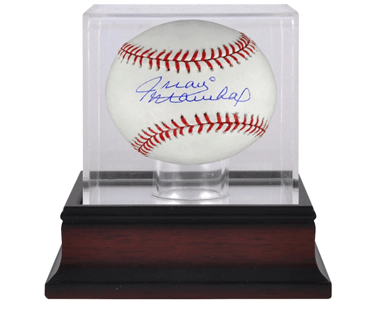 unique fathers day gift ideas from daughters - Juan Marichal autographed baseball and mahogany display