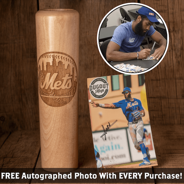 Amed Rosario Autographed Photo and Dugout Mug Combo (ONLY 150 AVAILABLE) Mets Circle Logo