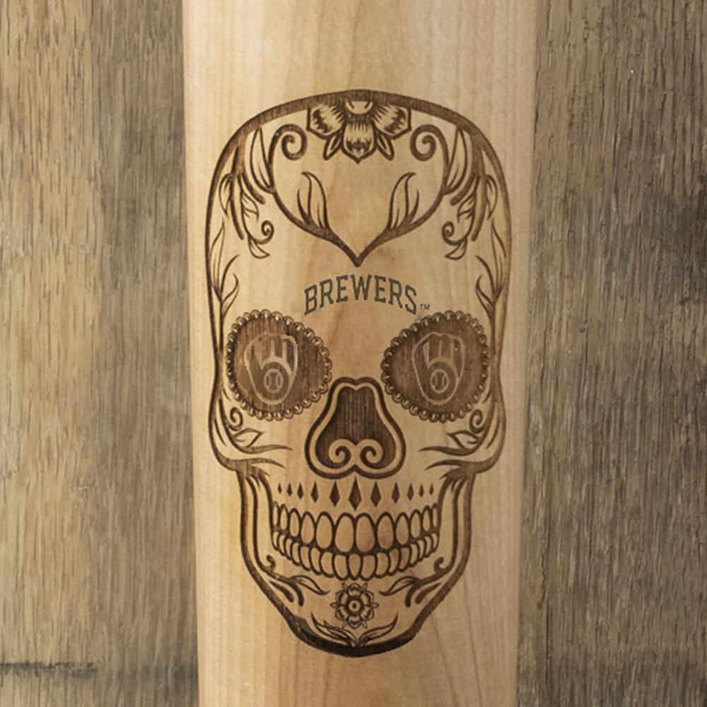 Milwaukee Brewers Sugar Skull Baseball Bat Mug Details