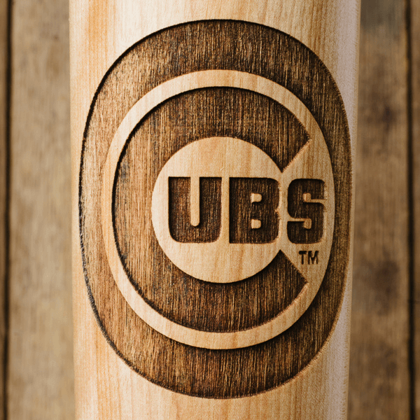 baseball bat mug Chicago Cubs close up