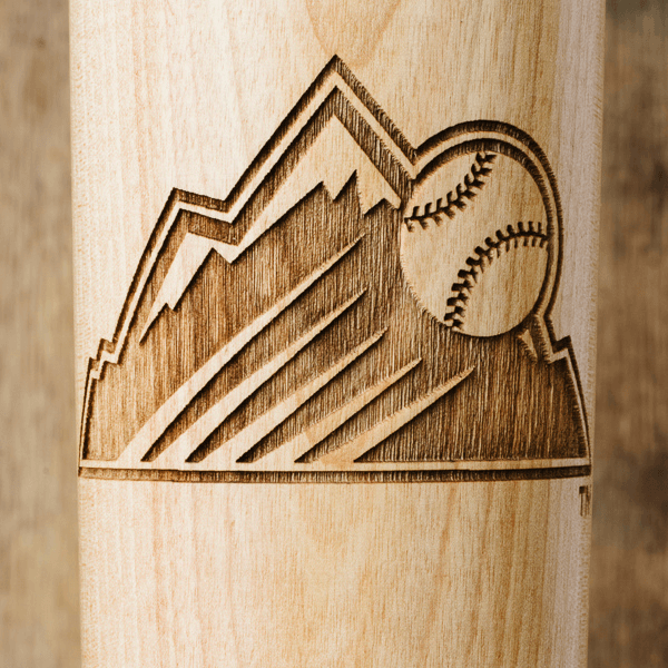 baseball bat mug Colorado Rockies Mountain close up
