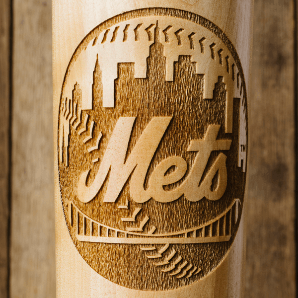 baseball bat mug New York Mets close up