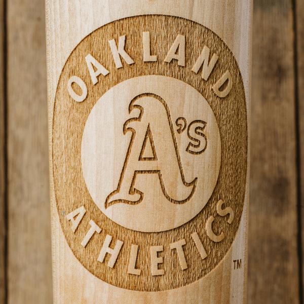 baseball bat mug Oakland Athletics close up