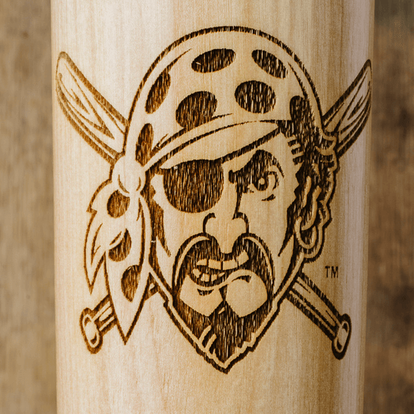 baseball bat mug Pittsburgh Pirates Pirate Head close up