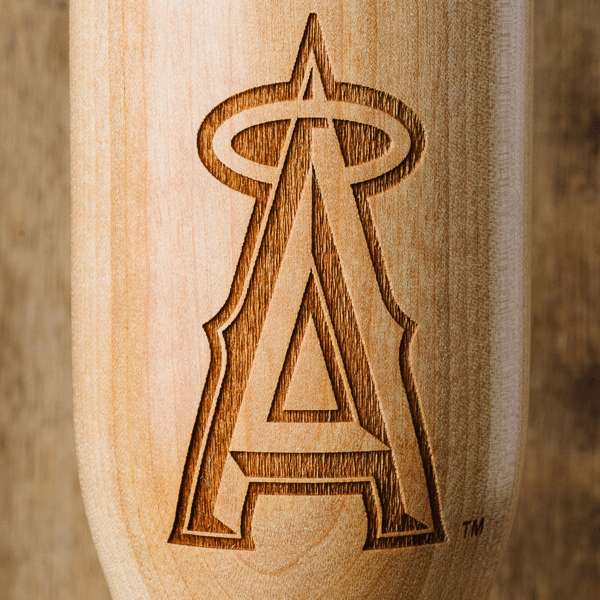 baseball bat wine glass Los Angeles Angels close up