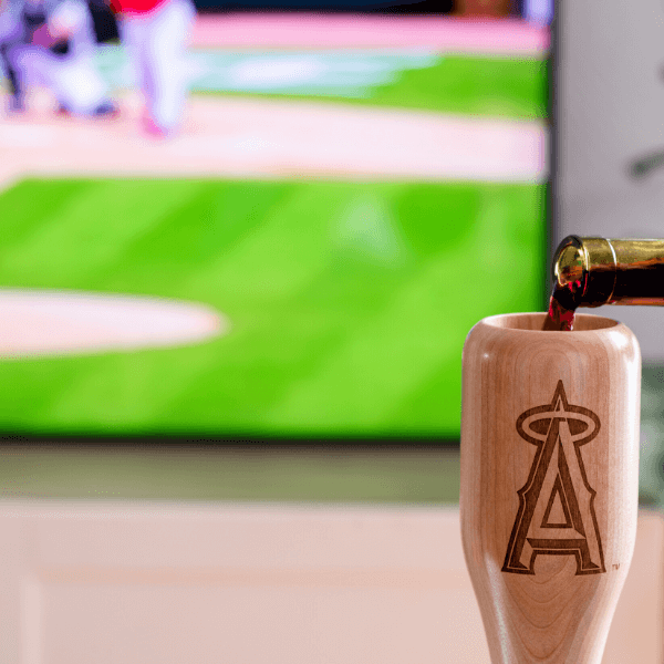 baseball bat wine glass Los Angeles Angels game day pour
