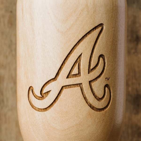 baseball bat wine glass Atlanta Braves close up
