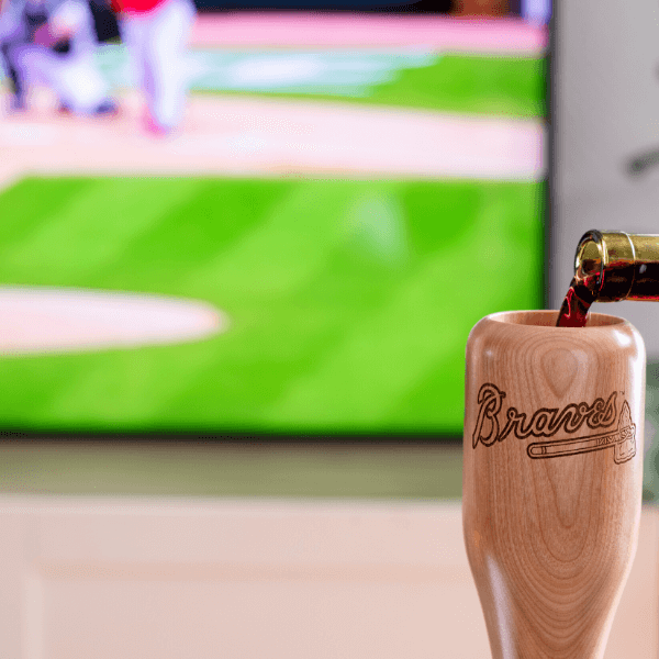 baseball bat wine glass Atlanta Braves game day pour