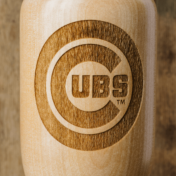 baseball bat wine glass Chicago Cubs close up