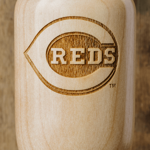 baseball bat wine glass Cincinnati Reds close up