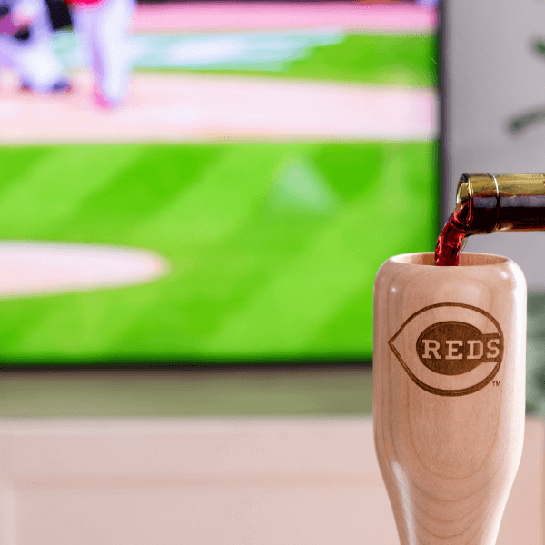 baseball bat wine glass Cincinnati Reds game day pour