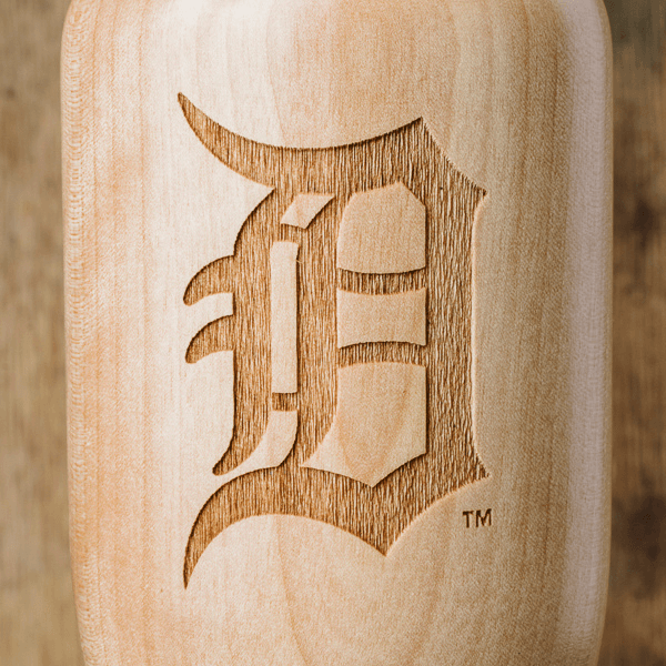 baseball bat wine glass Detroit Tigers D close up