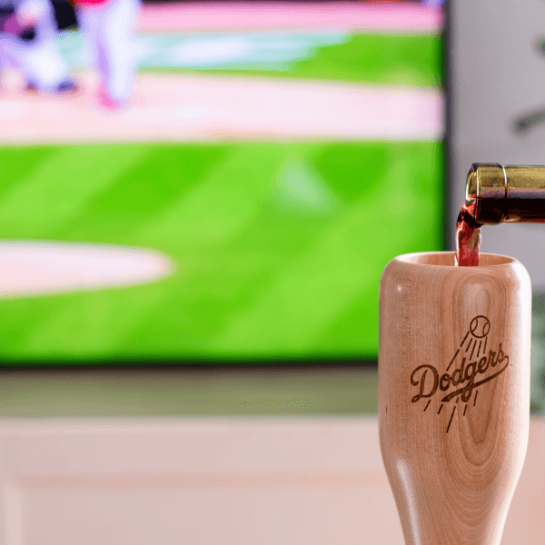 baseball bat wine glass Los Angeles Dodgers game day pour