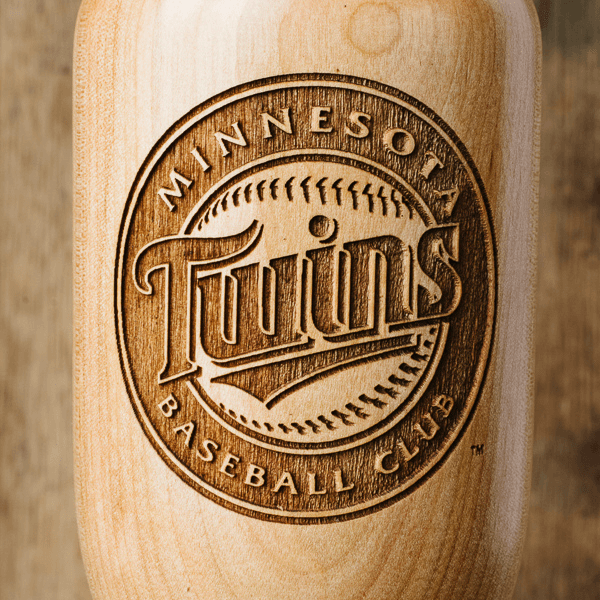 baseball bat wine glass Minnesota Twins close up