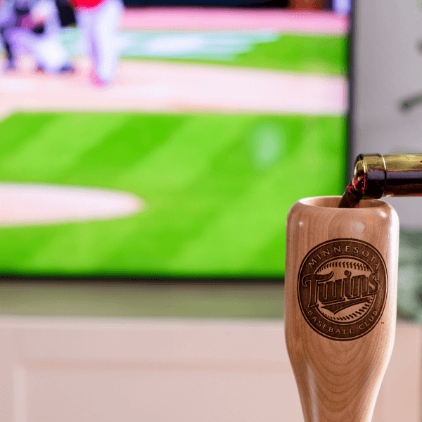 baseball bat wine glass Minnesota Twins game day pour