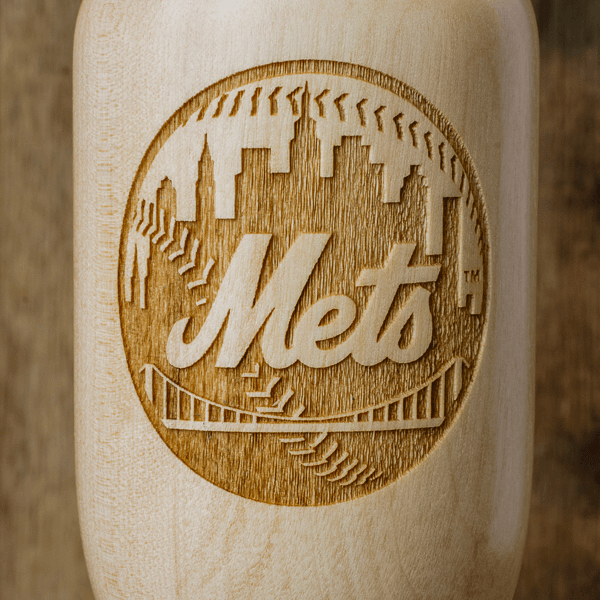 baseball bat wine glass New York Mets close up