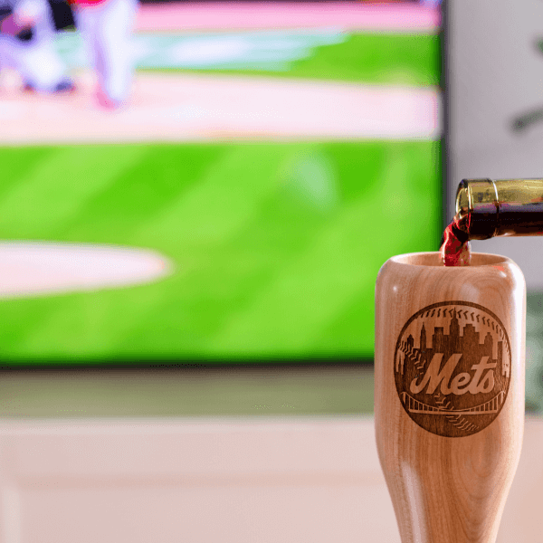 baseball bat wine glass New York Mets game day pour
