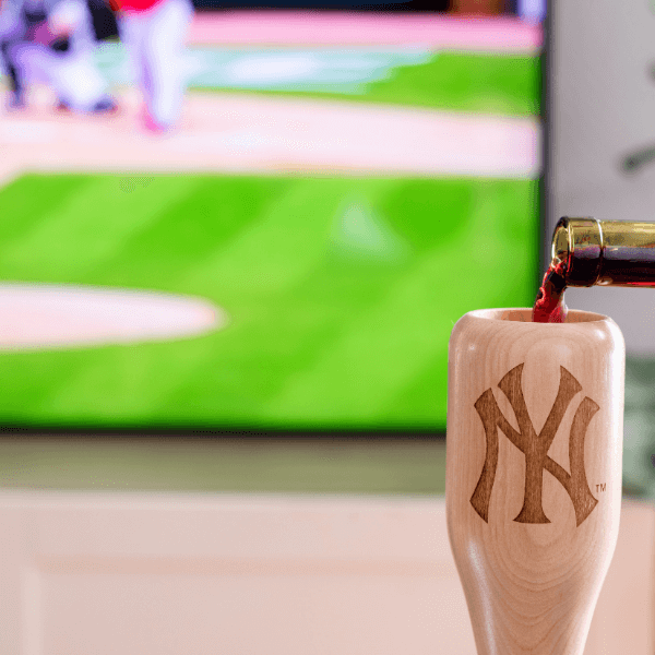 baseball bat wine glass New York Yankees NY game day pour