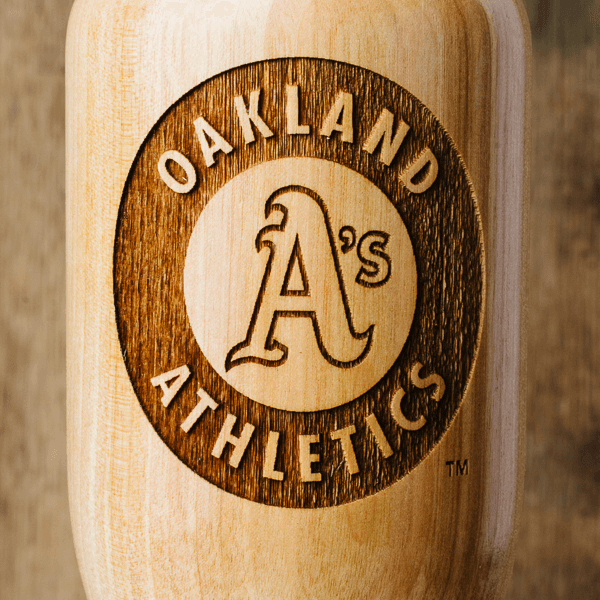 baseball bat wine glass Oakland Athletics close up