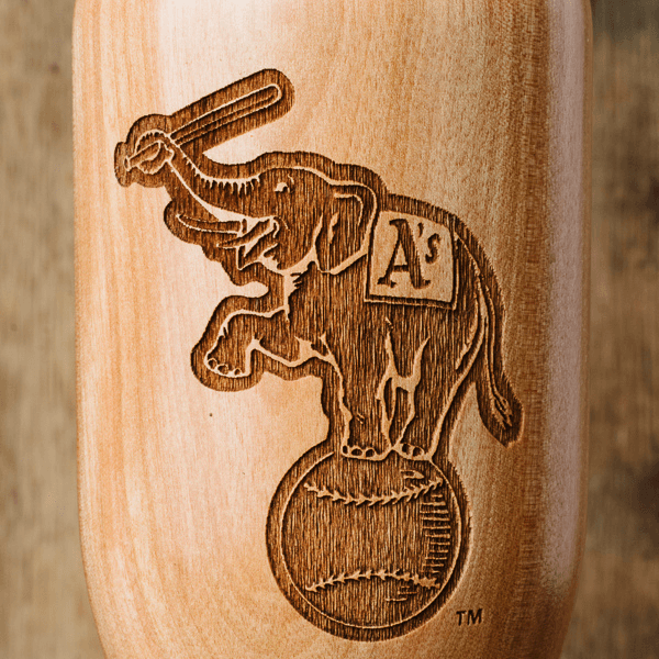 baseball bat wine glass Oakland Athletics Elephant close up