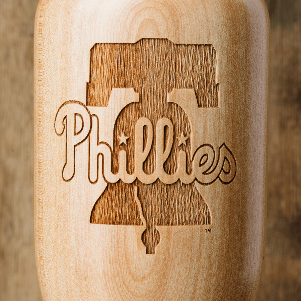 baseball bat wine glass Philadelphia Phillies close up