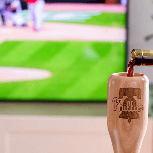 baseball bat wine glass Philadelphia Phillies game day pour