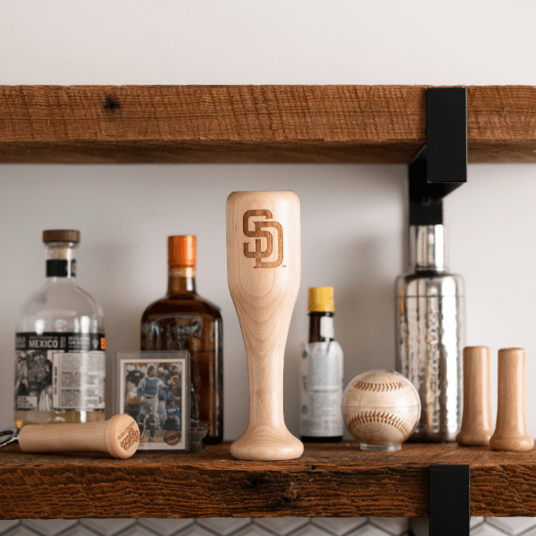 baseball bat wine glass San Diego Padres SD display