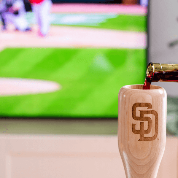 baseball bat wine glass San Diego Padres SD game day pour