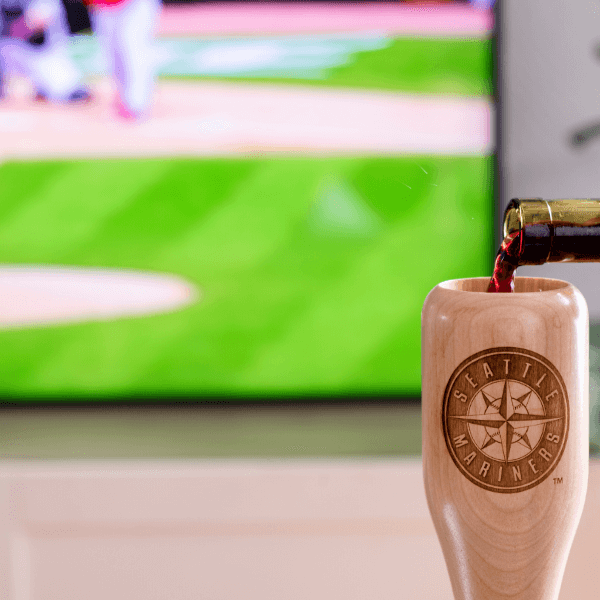 baseball bat wine glass Seattle Mariners  game day pour