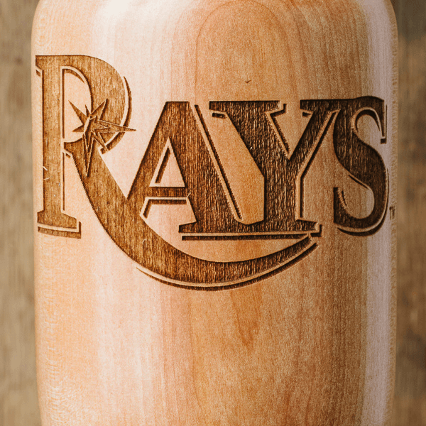 baseball bat wine glass Tampa Bay Rays close up