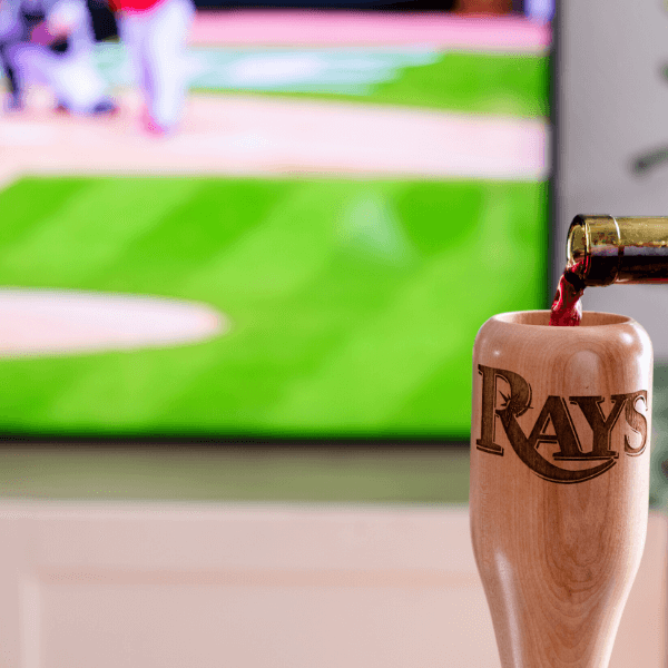 baseball bat wine glass Tampa Bay Rays game day pour