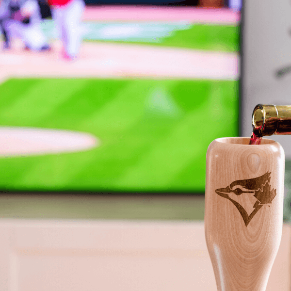 baseball bat wine glass Toronto Blue Jays Bird game day pour