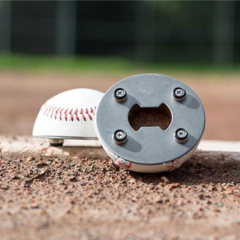 half baseball bottle opener in the field